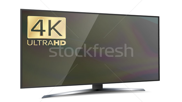 4K Screen Resolution Smart TV. Ultra HD Monitor Isolated On White Illustration Stock photo © pikepicture