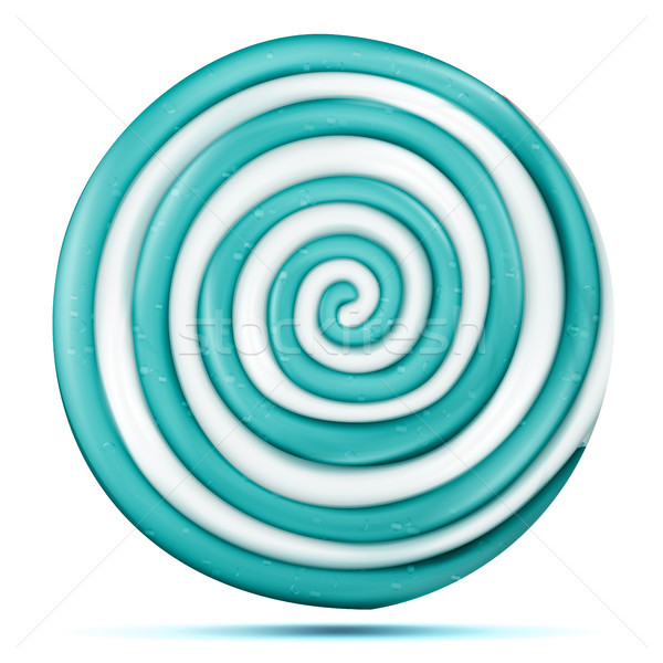 Lollipop Isolated Vector. Blue Round Sweet Candy Swirl Illustration Stock photo © pikepicture