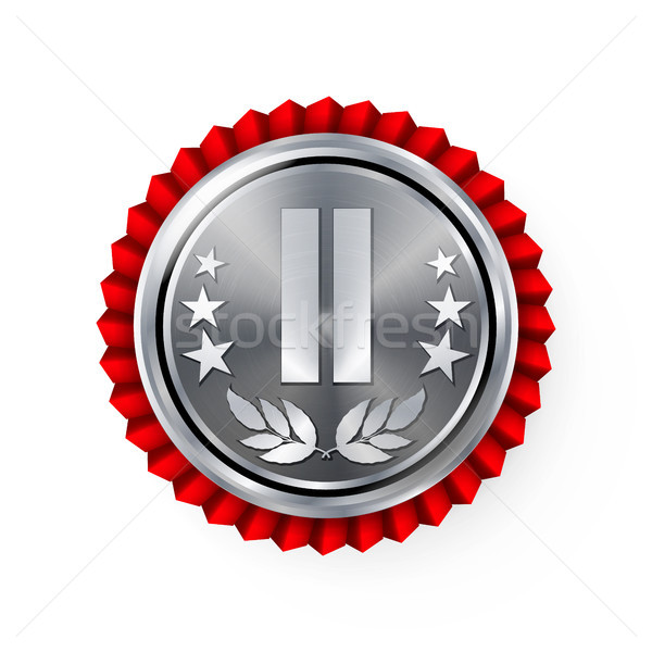 Silver 2st Place Rosette, Badge, Medal Vector. Realistic Achievement With Best Second Placement. Rou Stock photo © pikepicture