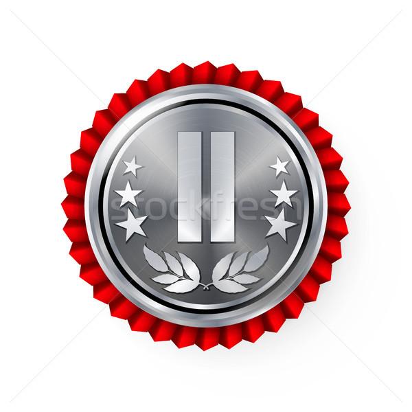 Srebrny miejsce odznakę medal wektora realistyczny Zdjęcia stock © pikepicture