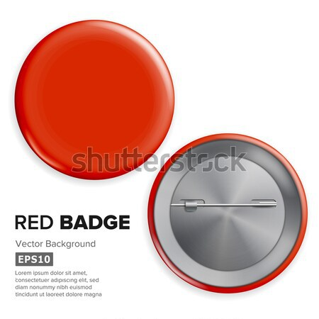 Blank Blue Badge Vector. Circle Button Badge Set Front, Back Side. Stock photo © pikepicture