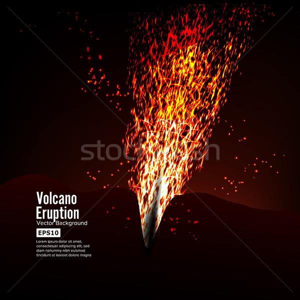Uitbarsting vulkaan vector onweersbui groot Stockfoto © pikepicture