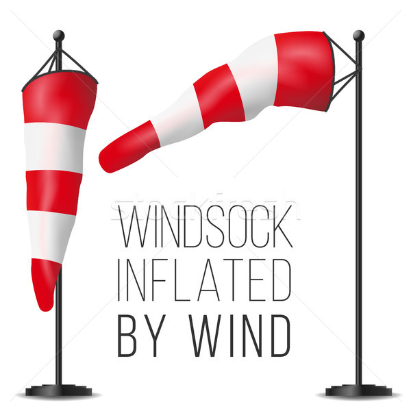 Wind Speed Flag Vector. Inflated By Wind On A Pole. 3D Weather Windsock Isolated Illustration Stock photo © pikepicture