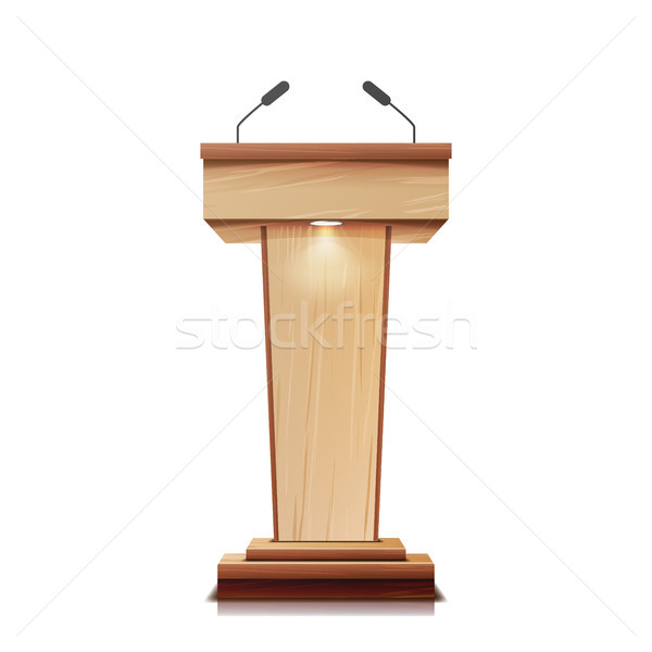 Realistic Wooden Tribune Isolated Vector. With Two Microphones. Wooden Classic Podium Stand Rostrum. Stock photo © pikepicture