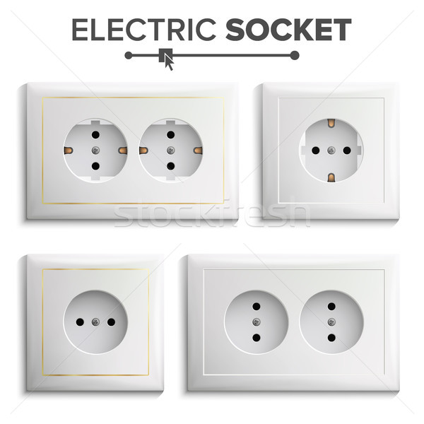 Socket Isolated Set Vector. White Double Grounded Power Switch. Plastic Panel. Electrical Outlet. Re Stock photo © pikepicture