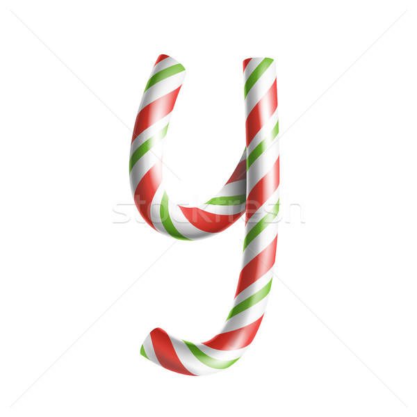 Letter Y Vector. 3D Realistic Candy Cane Alphabet Symbol In Christmas Colours. New Year Letter Textu Stock photo © pikepicture