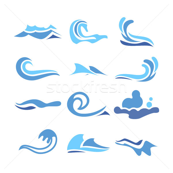 Wave Water Icon Set Vector. Flowing Water Elements. Isolated Illustration Stock photo © pikepicture