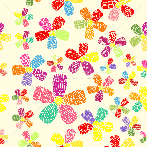 Vector Pattern 60s. Seamless Background Inspired Flower Power. Counterculture, Social Revolution In  Stock photo © pikepicture