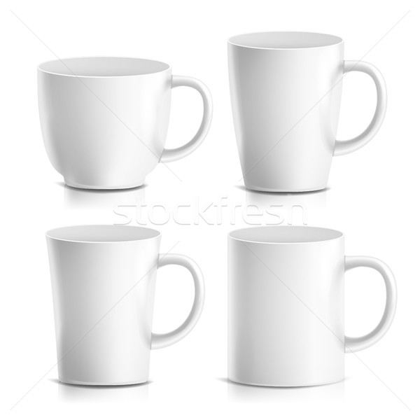 Mug Mock Up Set Vector. Realistic Ceramic Coffee, Tea Cup Isolated. Classic Cafe Cup Illustration. G Stock photo © pikepicture