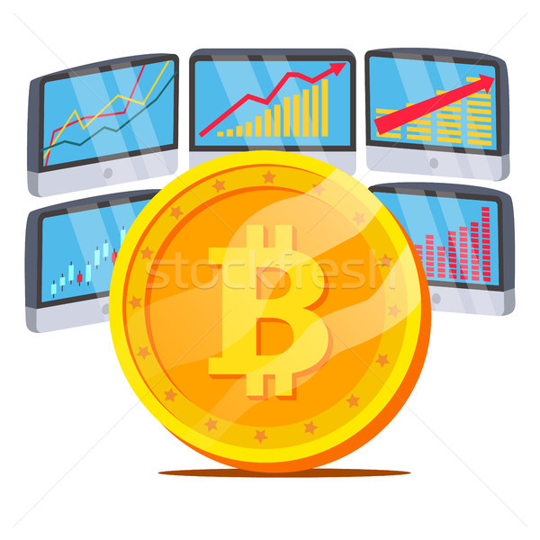 Bitcoin With Graph Diagram Vector. Trading Monitors And Trend. Digital Money. Cryptocurrency Investm Stock photo © pikepicture