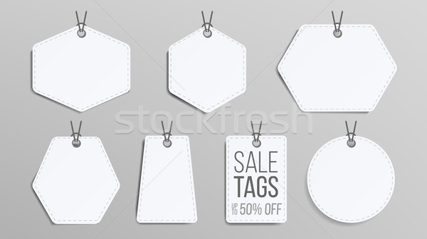 Sale Tags Blank Vector. White Empty Shopping Discounts Stickers. Template Discount Banners Set. Prom Stock photo © pikepicture
