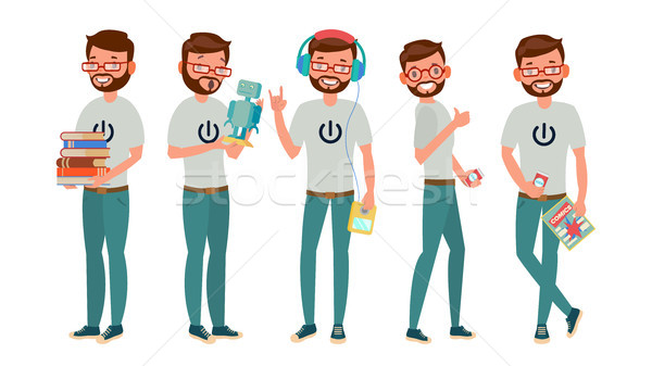 Geek Character Vector. Man. Classic Geek, Nerd. Isolated On White Cartoon Illustration Stock photo © pikepicture