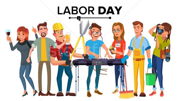Gün vektör modern işçiler ayarlamak Stok fotoğraf © pikepicture