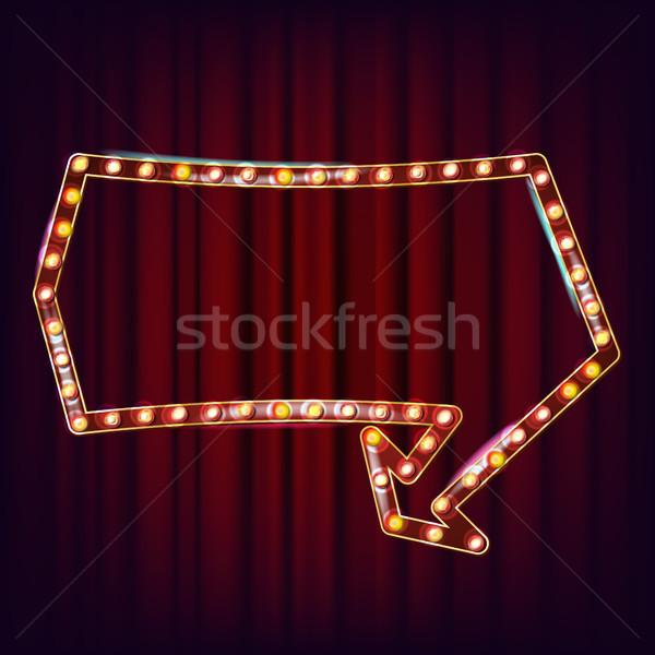 Retro Billboard Vector. Shining Light Sign Board. Shine Lamp Frame. Glowing Element. Vintage Illumin Stock photo © pikepicture