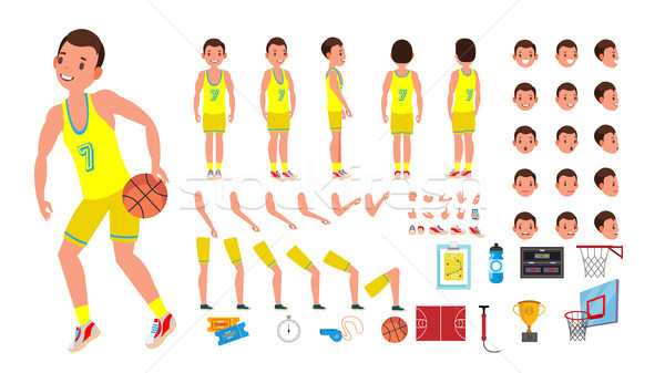 Basketball Player Male Vector. Animated Character Creation Set. Basketball Player Man. Full Length,  Stock photo © pikepicture