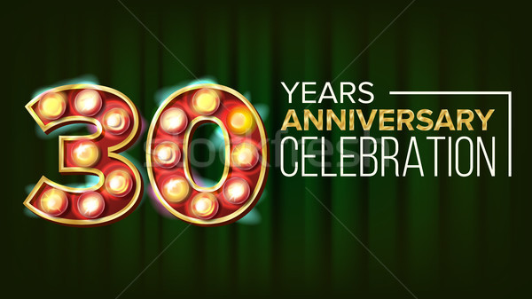 30 Years Anniversary Banner Vector. Thirty, Thirtieth Celebration. 3D Glowing Element Digits. For In Stock photo © pikepicture