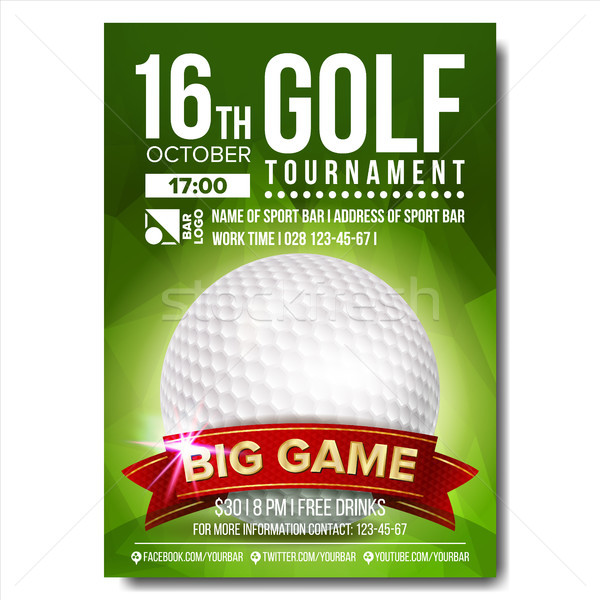 Golf Poster Vector. Golf Ball. Vertical Design For Sport Bar Promotion. Tournament, Championship Fly Stock photo © pikepicture