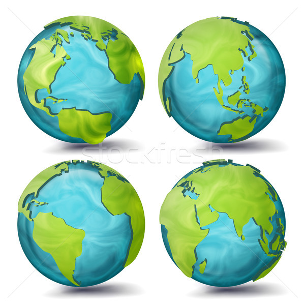 World Map Vector. 3d Planet Set. Earth With Continents. Eurasia, Australia, Oceania, North America,  Stock photo © pikepicture
