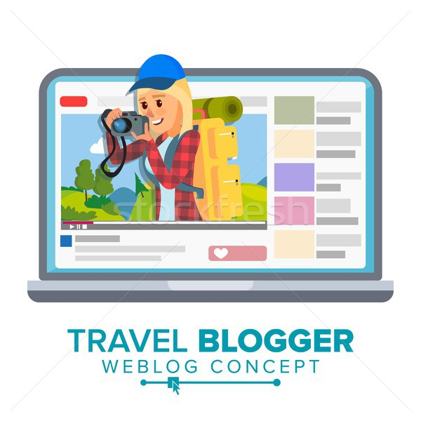 Travel Weblog Concept Vector. Personal Blog About Tourism And Hiking. Blogosphere Online. Girl Popul Stock photo © pikepicture