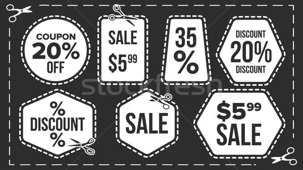 Sale Banners Set Vector. Craft Blade. Cutout Template. Discount Badge. Advertising Element. Flat Iso Stock photo © pikepicture