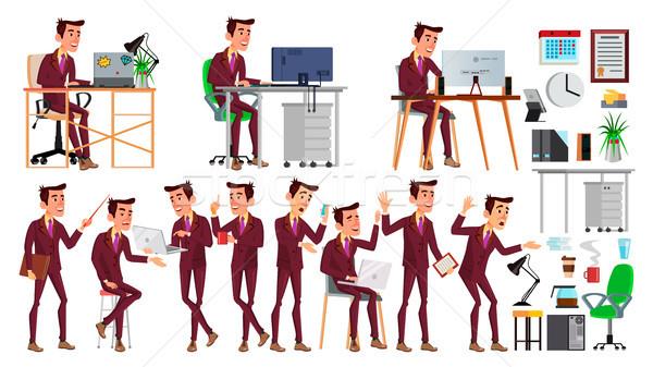 Kantoormedewerker vector gezicht emoties gebaren Stockfoto © pikepicture