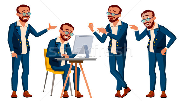Irodai dolgozó vektor érzelmek különböző gesztusok tevékenység Stock fotó © pikepicture
