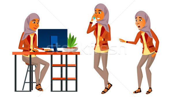 Arab Woman Office Worker Vector. Woman. Hijab. Islamic. Traditional Clothes. Set. Modern Employee, L Stock photo © pikepicture