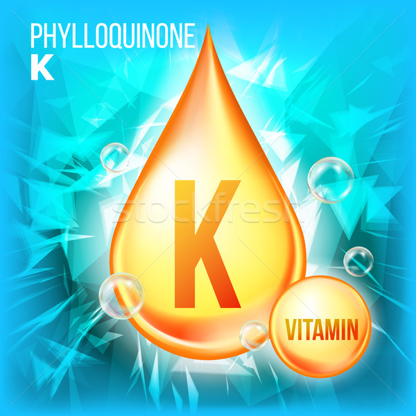 Vitamin K Phylloquinone Vector. Vitamin Gold Oil Drop Icon. Organic Gold Droplet Icon. For Beauty, C Stock photo © pikepicture