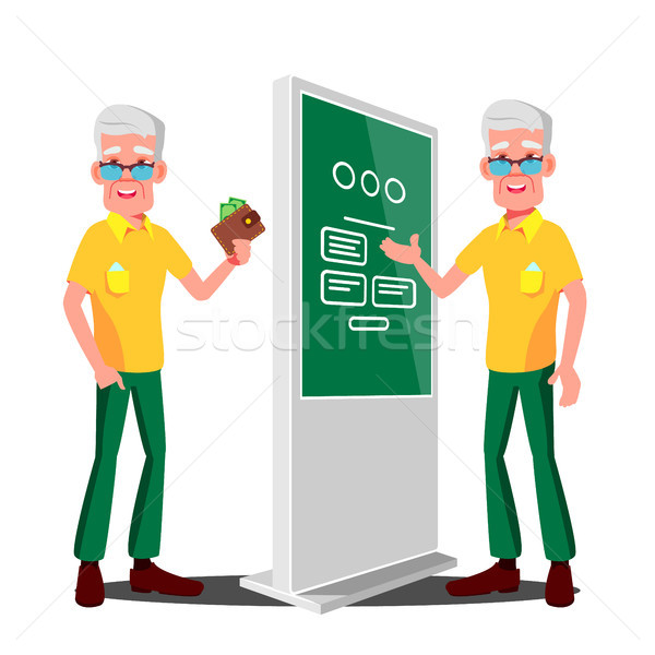 Old Man Using ATM, Digital Terminal Vector. Showcasing Information, Advertising. Isolated Flat Carto Stock photo © pikepicture