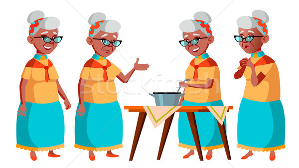 Old Woman Poses Set Vector. Black. Afro American. Elderly People. Senior Person. Aged. Caucasian Ret Stock photo © pikepicture