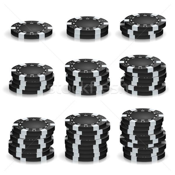 Nero poker chips vettore realistico set plastica Foto d'archivio © pikepicture