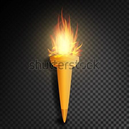 Valósághű égő gyufa vektor láng átláthatóság Stock fotó © pikepicture