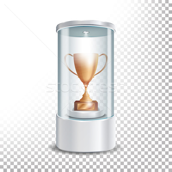 Transparent Glass Museum Showcase Podium With Bronze Cup, Spotlight And Sparks. Mock Up Capsule Box  Stock photo © pikepicture