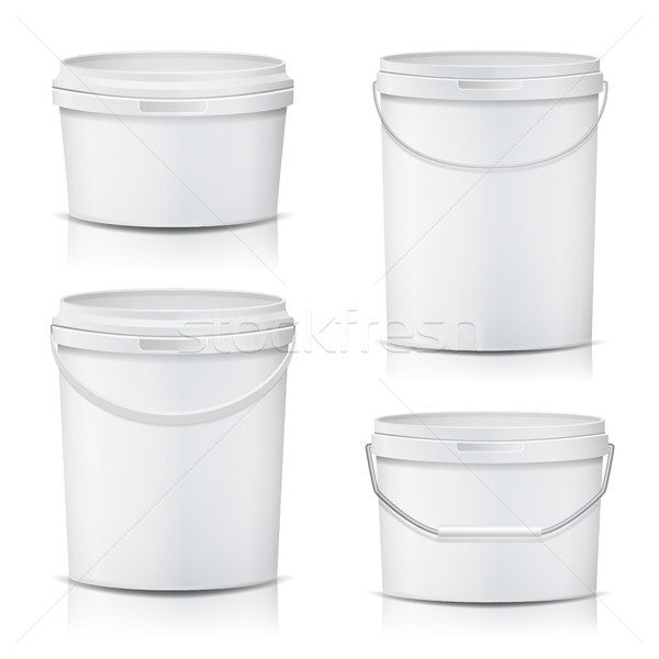 White Bucket Set Container Mock Up Vector. Product Packaging For Adhesives, Sealants, Primers, Putty Stock photo © pikepicture