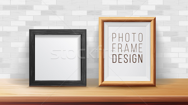 Stock photo: Frames Background Concept Vector. Good For Your Exhibition Design. Realistic Shadows. Brick Wall Bac