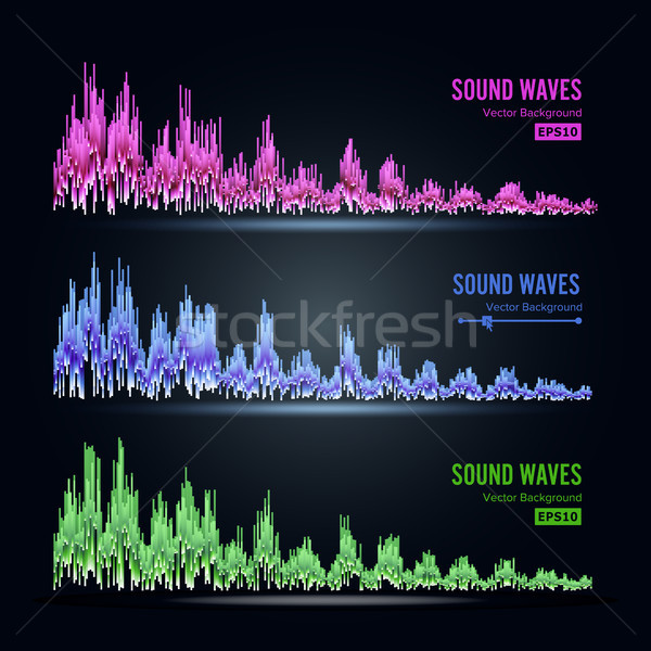 Music Sound Waves Pulse Abstract Vector. Synthesis And Electronic Sound Hearing. Abstract Technology Stock photo © pikepicture
