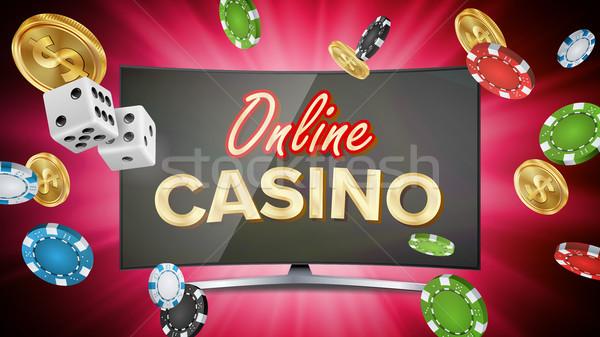 Foto d'archivio: Online · casino · vettore · banner · poker