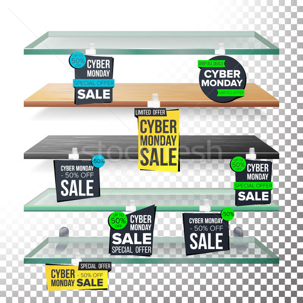 Supermarket Shelves, Cyber Monday Sale Advertising Wobblers Vector. Retail Sticker Concept. Mega Sal Stock photo © pikepicture