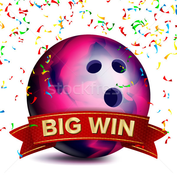 Bowing Award Vector. Red Ribbon. Big Sport Game Win Banner Background. Ball. Confetti Falling. Reali Stock photo © pikepicture