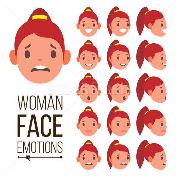 Woman Emotions Vector. Handsome Face Female. Cute, Joy, Laughter, Sorrow. Girl Avatar Psychological  Stock photo © pikepicture