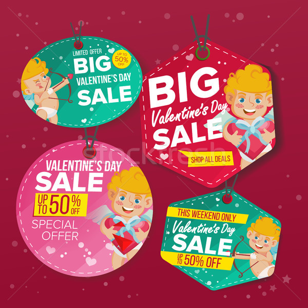 Valentine s Day Sale Love Tags Vector. Flat February 14 Special Offer Stickers. Cupid. 50 Off Text.  Stock photo © pikepicture