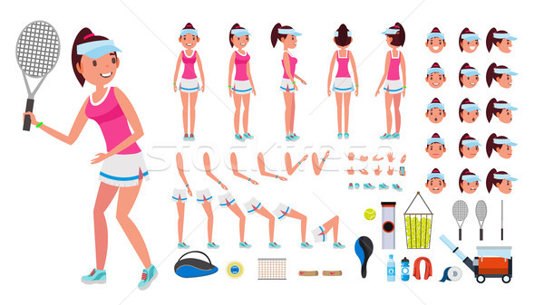 Tennis Player Female Vector. Animated Character Creation Set. Tennis Player Girl, Woman. Full Length Stock photo © pikepicture