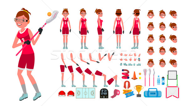 Lacrosse Player Female Vector. Animated Character Creation Set. Girl s Lacrosse. Woman Player. Full  Stock photo © pikepicture