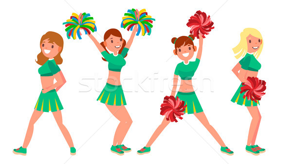 Female Cheerleader Vector. Different Poses. Dancing Sheerleading Woman Team. Gymnast Team In Uniform Stock photo © pikepicture