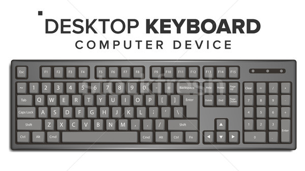 Desktop Keyboard Vector. 3D Realistic Classic Computer Keyboard Mockup. Isolated On White Illustrati Stock photo © pikepicture