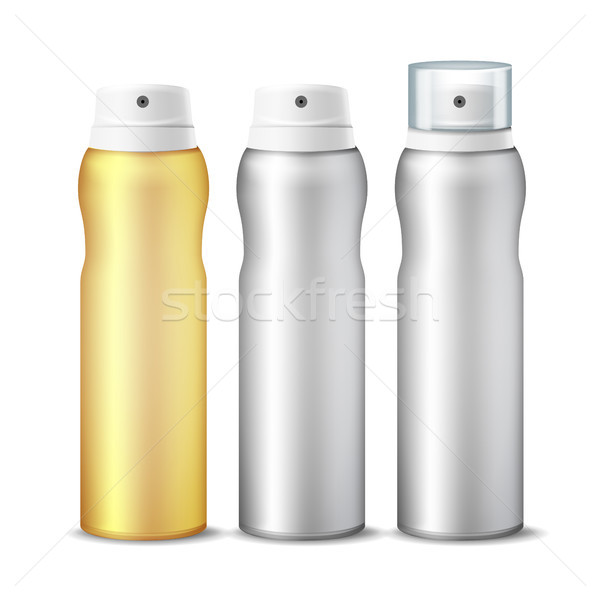 Realistic Cosmetic Spray Can Vector. Aluminium Can Template Blank. Different Deodorant Types. 3D pac Stock photo © pikepicture