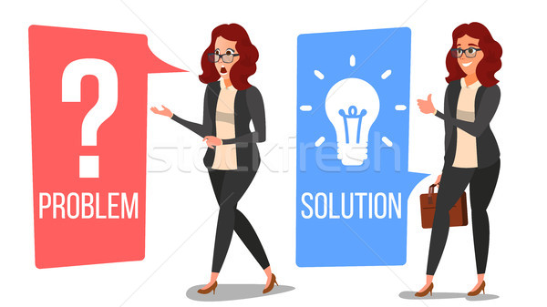 Problem Concept Vector. Thinking Woman. Problem Solving. Question Mark, Light Bulb. Decision Problem Stock photo © pikepicture