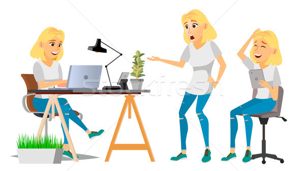 Business Woman Character Vector. Blonde Woman Various Views. Environment Process. Businesswoman Lady Stock photo © pikepicture