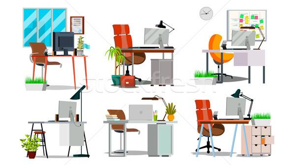 Biuro pracy wnętrza zestaw wektora pokój Zdjęcia stock © pikepicture