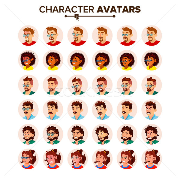 People Avatar Set Vector. Man, Woman. Circle Pictogram. Expressive Picture. Human Emotions. Stylish  Stock photo © pikepicture
